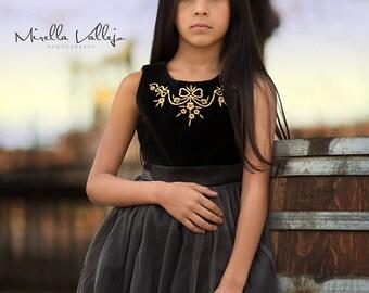 Black Velvet Tulle Dress