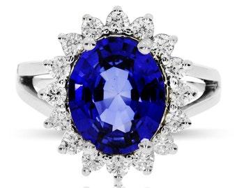 deep blue sapphire princess kate engagement ring diamond halo ring split shank oval princess diana - Princess Kate Wedding Ring