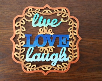 Live Love Laugh Wall decor  wreath hanging gold teal metallic blue copper
