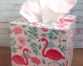 pink flamingo tissue box cover, flamingo kleenex box cover, pink flamingo, turquoise flamingo, pink and turquoise, wooden tissue box