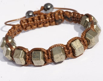Shamballa for man pierre Pyrite bracelet