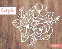 Floral digital cut file (svg, dxf, png) for use with Silhouette, Cricut, in paper crafting, scrapbooking projects, card making, stencils.