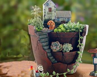 Succulent Planters / Indoor Pots Hanging Garden Planter Pots Miniature Garden Container Succulent Terrarium Miniature Garden Containers