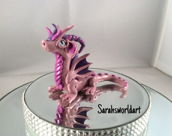 Polymer clay pink, dark pink & purple dragon