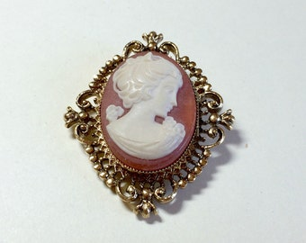 Unusual vintage cameo pin or cameo brooch from Avon perfume locket vintage Avon brooch vintage Avon cameo Victorian style cameo brooch 1970s