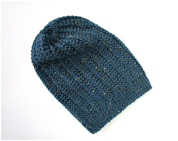 cedd2b73e19 Slouchy Hats Hand Knit Beanie Blue Knit Beanie Slouchy Knit