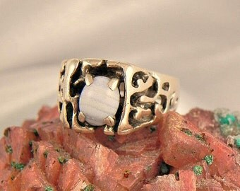 Sterling Blue Laced Agate Ring