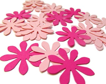 Paper Flower Confetti Hot Pink and Pink, Paper Daisy confetti/ Summer Party Theme/ Baby Girl Shower Table Scatter/Paper Flower Cut Outs