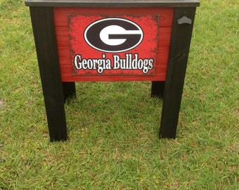 Georgia Bulldogs painted wood cooler
