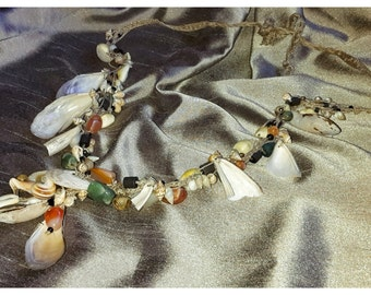 Vintage Boho Sea Necklace, Various Shells and Beads