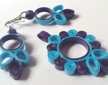 Blue quilled jewelry set