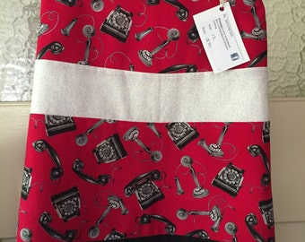 Ladies A-line skirt. Red telephones. Size 12 AU. On Sale, womans gift, old phones, gift for her, red skirt, ladies skirt.