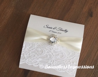 Handmade Square Folding 'Sonia' Wedding Invitation