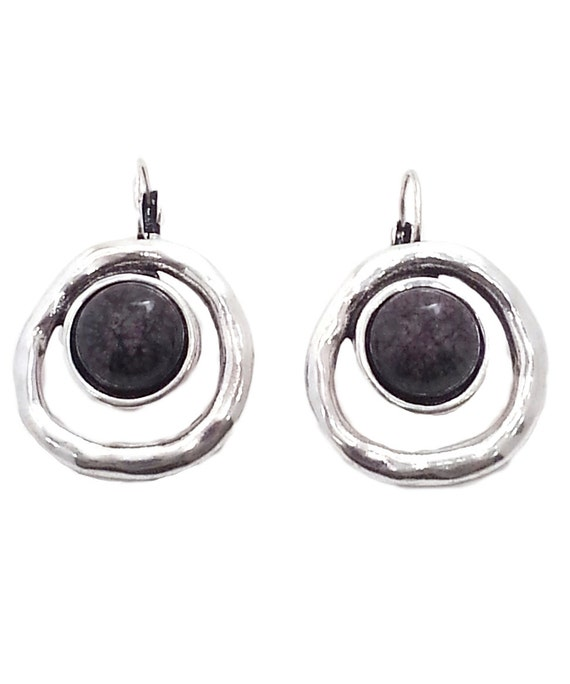 Gray Circle Earrings in Hammered finish Silver tone