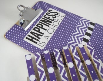 Mini Clipboard Gift Set, Purple Small Clipboard, Happiness is a Choice Desk Set, Clipboard and Clothespin Set, Chevron and Polka Dot