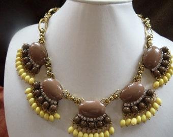 Statement necklace Ibiza ethnic hippie vintage brown / yellow
