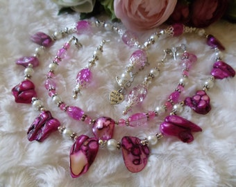 Pearl Jewelry set 4-piece white/pink