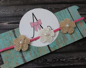 Burlap flower baby headband, pink burlap pear baby bow