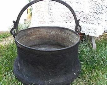"Antique Primitive massive  hand-forged copper Cauldron - ""Rania"" with handle"