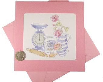 Baking Card, Pink Card, Baking Pink Card, Decoupage Card, Birthday Card, Female Birthday Card