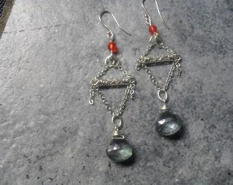 blue mystic crystal dangle earrings