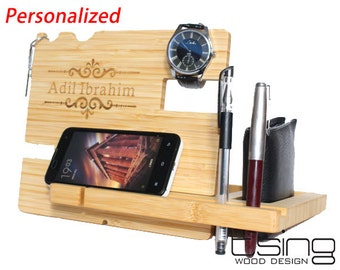 BEST Fathers Day Gift--Custom Wooden Dock and Charging Station For iPhone 5, iPhone 6, Mobile, Wallet, Pencils,