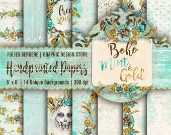 Boho Paper Pack Mint Gold Digital Paper, Summer Scrapbook Paper Shabby Chic Printable Floral Backgrounds Feathers Ethno Tribal Paper Pack