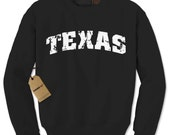 Crewneck TEXAS Distressed/Vintage Long Sleeve Sweatshirt #1050 by Expression Tees Trending Clothing / Apparel USA Seller