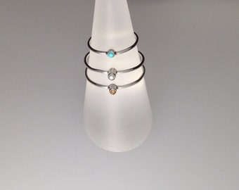 Little Dot Sterling Silver Ring with Tube Set Gemstone Setting