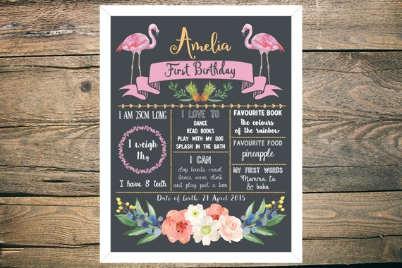 Personalised First/1st Birthday Chalkboard Sign - Girl - 11x14 inch - Printable - Tropical, Flamingo, Pineapple, Floral theme