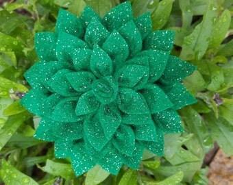 Brooch - Green Glitter Felt Fabric Flower