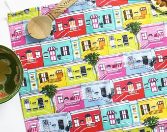 Colourful Bo-Kaap Houses Tea Towel for fans of Cape Town and happy architecture, 100% cotton, printed in Great Britain