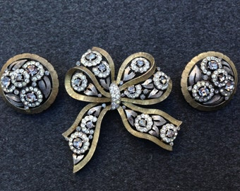 Crown Trifari Bow and Flower Brooch and Earring Set