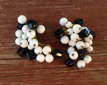 Vintage Black and White Glass Cha Cha Earrings Signed Japan 0422