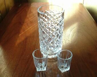 Vintage Glasses; Vintage Shot Glasses;  Vintage Vase