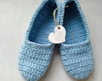 Women slippers, crochet slippers, blue slippers, gift for women, cotton slippers, antiperspirant