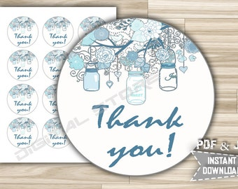Baby Shower Favor Tag Thank You Printable - Party Favor Tag Mason Jars in Blue for Boy Stickers Decoration - Instant Download - mjb