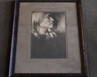 Vintage Original Edward S. Curtis Signed Photograph Vash Gon Jicarilla Apache Native American C. 1904