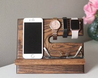 Oak Nightstand Valet | Wooden Phone Stand | Phone Charging Dock | Wood Docking Station | Personalized Phone Stand| Kona Stain