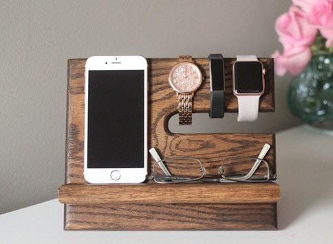 Oak Nightstand Valet Wooden Phone Stand Phone Charging