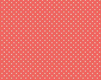 Spot On Coral White Polkadot on Coral Spotty Dotty Cotton Print Fabric Makower per Fat Quarter FQ