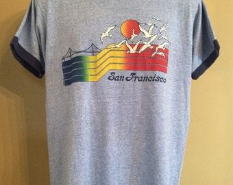 Vtg 80s Screen Stars San Francisco Souvenir Ringer T-Shirt Heather Blue L Thin 50/50