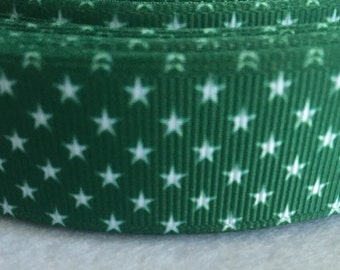 "Green and white stars grosgrain ribbon 7/8""-5 yards"