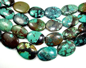 Genuine Turquoise, Approx (14-17)mmx(18-22)mm Oval Beads, 8 Inch, Half strand, Approx 10 beads, Hole 1 mm (328030006)