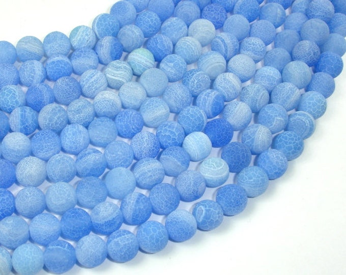 Frosted Matte Agate - Blue, 8mm Round Beads, 15 Inch, Full strand, Approx 49 beads, Hole 1 mm (122054203)