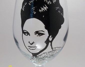 Hand Painted Glass, Painted Wine Glasses, Barbra Streisand