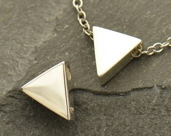 Sterling Silver, Triangle Bead, Silver Triangle Bead, Triangle Charm, Silver Triangle Charm, Triangle Jewelry, Geometric Bead
