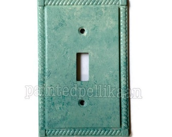Painted Metal Switchplate - Painted Switchplate - Aqua Switchplate - Teal switchplate - Turquoise Switchplate - Painted Switch plate