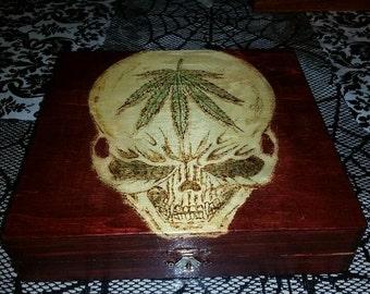 Electrifying Wooden Skull Cigar/Stash Box