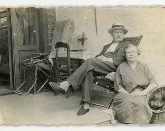 Couple on the porch - original vintage photo - man, woman, and dog sitting outside - found photo- paper ephemera